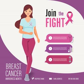 Mulher correndo no modelo de infográfico de campanha de conscientização de câncer de mama