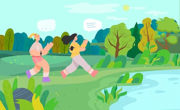 Mulher correndo no parque da cidade, pessoas do sexo feminino personagem, descanso e caminhada, ilustração. pessoas no parque nacional.