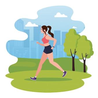 Mulher correndo no parque, mulher no sportswear, correr ao ar livre, atleta feminina na paisagem