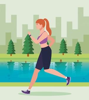 Mulher correndo no parque, mulher no sportswear, correr ao ar livre, atleta feminina no projeto de ilustração de paisagem