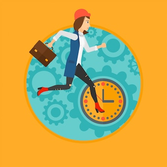 Mulher correndo no relógio.