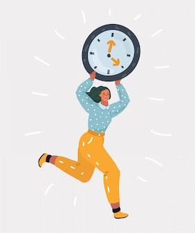 Mulher correndo preocupada com grande relógio.