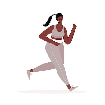 Mulher correndo vestida de sportswear isolado em um fundo branco. estilo de vida ativo e saudável. competição esportiva, exercício ao ar livre ou exercício, atletismo. ilustração plana.