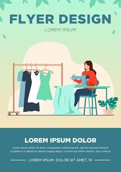 Mulher costura vestido novo na máquina de costura. costureira, pano, ilustração em vetor plana vestuário. conceito de moda e artesanato