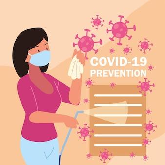 Mulher covid 19 máscara de prevenção e spray desinfetante