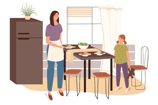 Mulher cozinha em conceito de web de cozinha em casa. mãe de avental arruma a mesa com pratos caseiros, filha ajuda mãe na cozinha