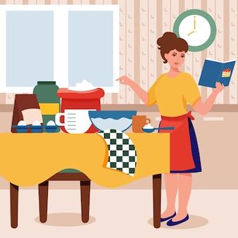 Mulher cozinhando bolo na cozinha cozinhando comida de acordo com a receita cozinhando em casa