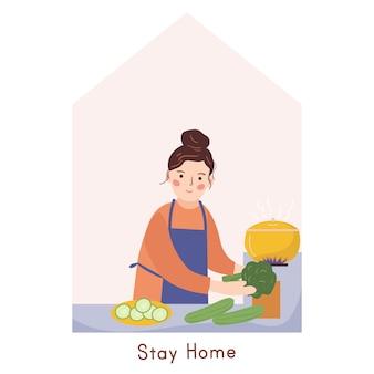 Mulher cozinhando em casa. atividade em casa