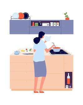 Mulher cozinhando. menina na cozinha perto do fogão