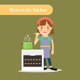 Mulher, cozinhar, alimento, cozinha