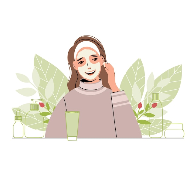 Mulher cuida do rosto: ela aplica uma máscara cosmética. coleção de produtos para o corpo e a pele.