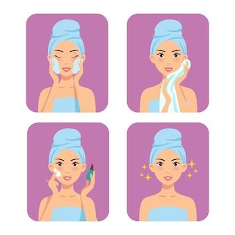 Mulher cuidando da pele do rosto e tônico de limpeza.