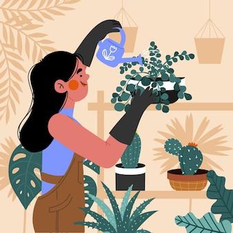 Mulher cuidando de plantas desenhadas à mão