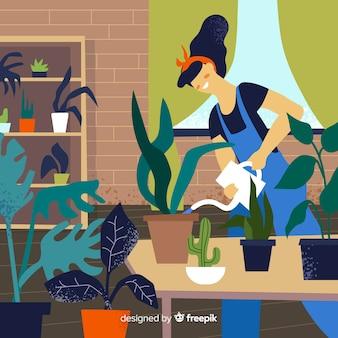 Mulher, cuidando, de, plantas
