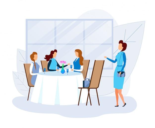 Mulher cumprimenta amigos femininos descansando no restaurante