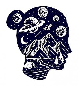Mulher da ilustração do universo