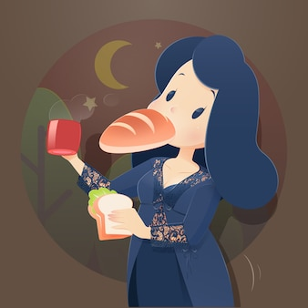 Mulher da ilustração no nightwear que come na noite. fome de noite