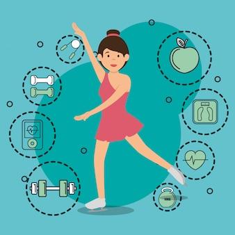 Mulher dançando com ícones de esportes