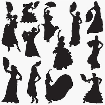 Mulher, dançar, flamenco, silhuetas
