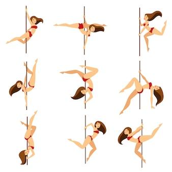 Mulher, dançarino pólo, dançar, poses, ligado, poste vetor, caricatura, isolado, jogo