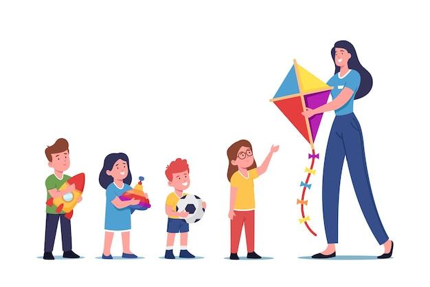 Mulher dando brinquedos a órfãos espera na fila, doação de bens para crianças pobres. caráter feminino voluntário, ajuda altruística para crianças, caridade e filantropia. ilustração em vetor desenho animado