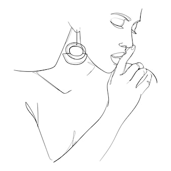 Mulher de arte de linha mínima com a mão no rosto. desenho de linhas pretas. - ilustração vetorial