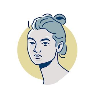 Mulher de arte em linha potrait close-up de uso perfeito, impressão, avatar, ícone