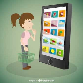 Mulher de arte online vetor compras