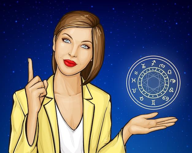 Mulher de astrólogo consulta com círculo do zodíaco