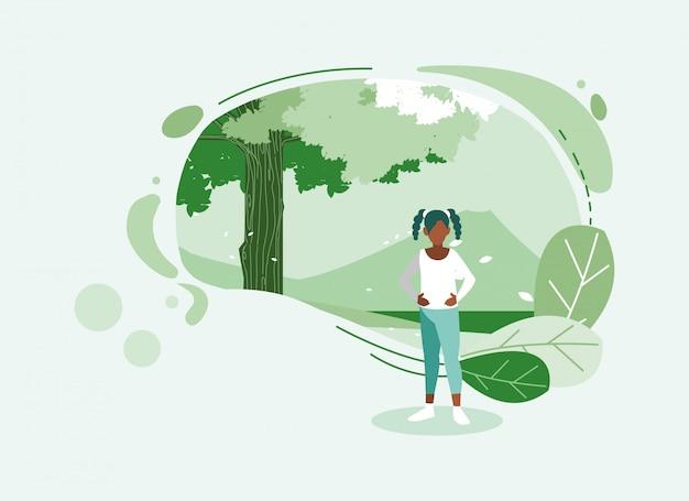 Mulher de avatar com árvore e folhas
