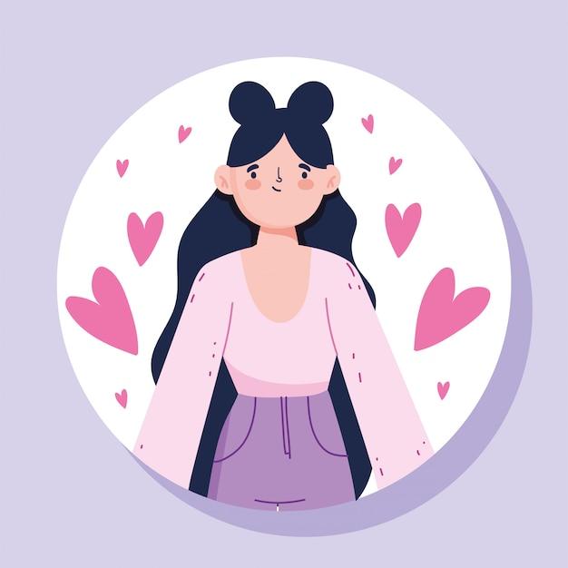 Mulher de avatar com design de cabelo preto