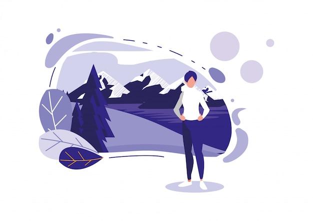Mulher de avatar com montanhas e folhas
