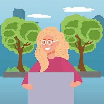 Mulher de avatar com óculos