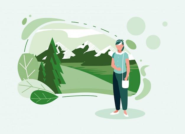 Mulher de avatar com paisagem e folhas