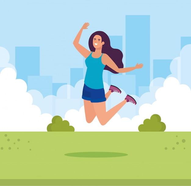 Mulher de avatar isolado pulando no parque