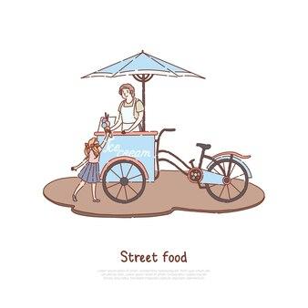Mulher de avental vendendo sobremesa doce