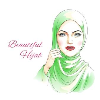 Mulher de beleza com desenho de mão em aquarela hijab