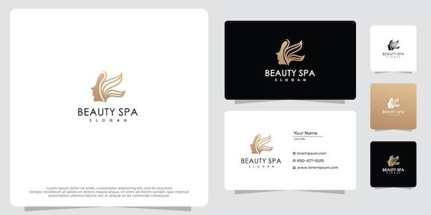 Mulher de beleza feminina ícone de design de logotipo dourado e modelo de cartão de visita