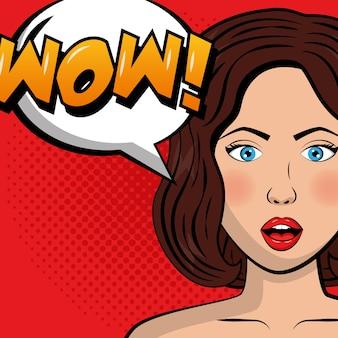 Mulher de beleza wow bolha do discurso pop art quadrinhos
