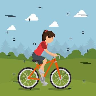 Mulher de bicicleta com ícones de esportes
