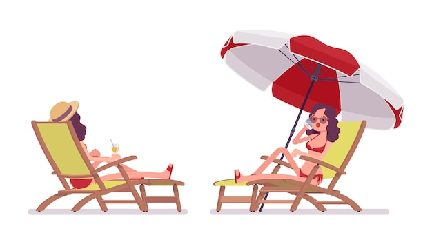 Mulher de biquíni conjunto relaxante e banhos de sol