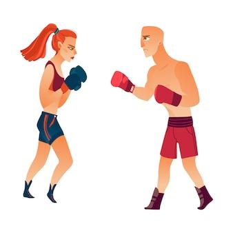 Mulher de boxe althlete muscular plana, homem