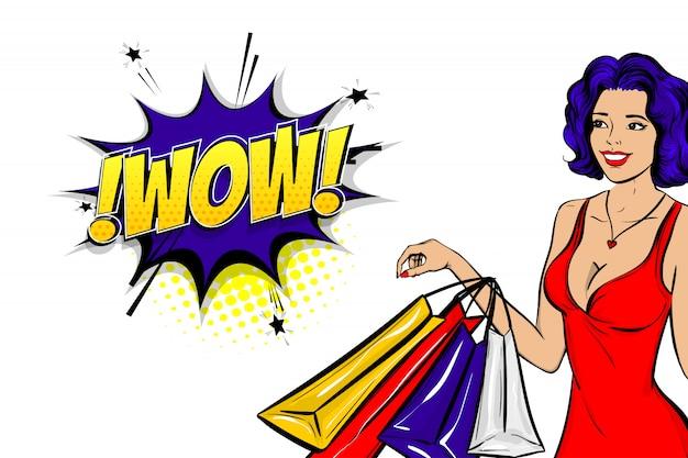 Mulher de cabelo azul pop art conseguir anunciar uau venda na bolha do discurso de texto em quadrinhos.
