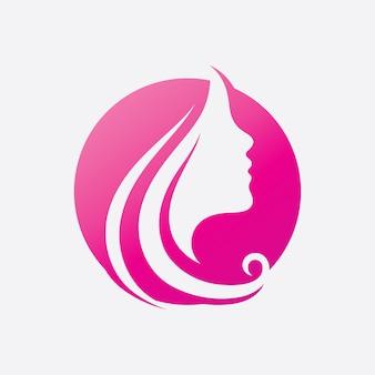 Mulher de cabelo e logotipo e símbolos de rosto