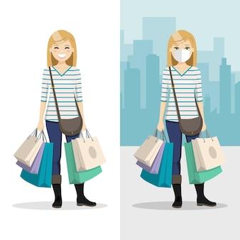 Mulher de cabelo loiro com muitas sacolas de compras com máscara e sem máscara