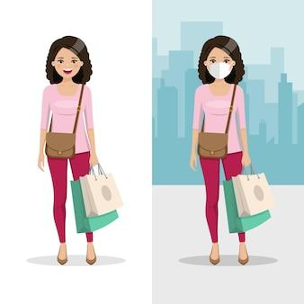 Mulher de cabelos castanhos e cacheados com duas sacolas de compras com máscara e sem máscara