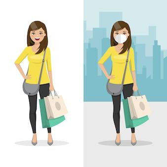 Mulher de cabelos castanhos e lisos com duas sacolas de compras com máscara e sem máscara