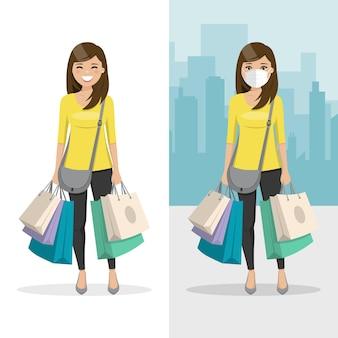 Mulher de cabelos castanhos e lisos com muitas sacolas de compras com máscara e sem máscara