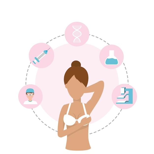 Mulher de câncer de mama e diagnóstico médico