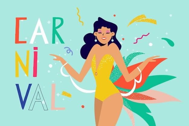 Mulher de carnaval brasileiro desenhada de mão dançando